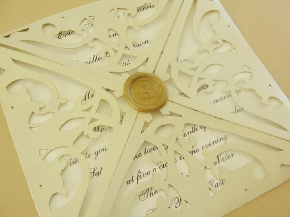Laser Cut Trellis Wedding Invitation