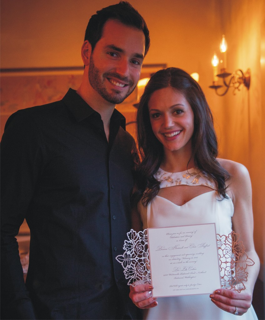 The Bachelorette's Desiree Hartsock and Chris Siegfried with their Natural Impression Design invitation.