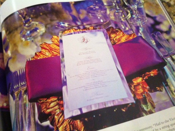 Featured in Inside Weddings Magazine the Mirror Menus created for the wedding of Jacqueline and Jake Long of the Miami Dolphins. Wedding Photo by Maloman Photographers. — at The Ritz-Carlton Resorts of Naples.