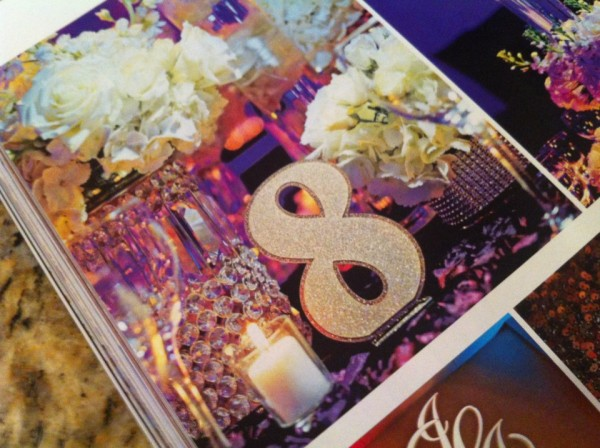 Featured in Inside Weddings the free standing Glitter Table Numbers created for the wedding of Jacqueline and Jake Long of the Miami Dolphins. Photo by Maloman Photographers. Floral by Trias Flowers & Gifts. — at The Ritz-Carlton Resorts of Naples.