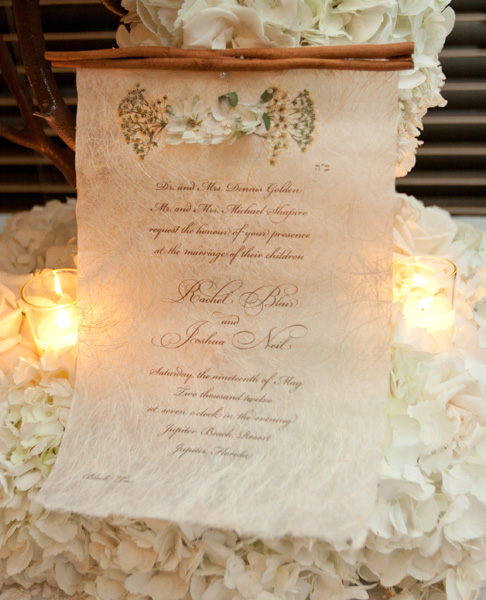 pressed flower scroll invitation