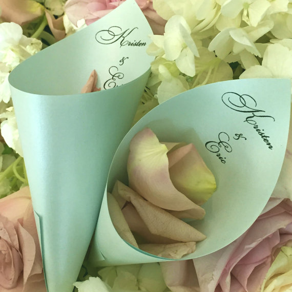 Wedding Petal Cones Aquamarine