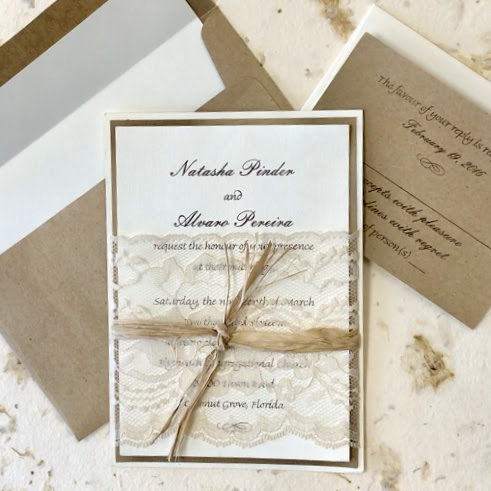 Vintage Lace Invitation Wrapped with Lace and Raffia