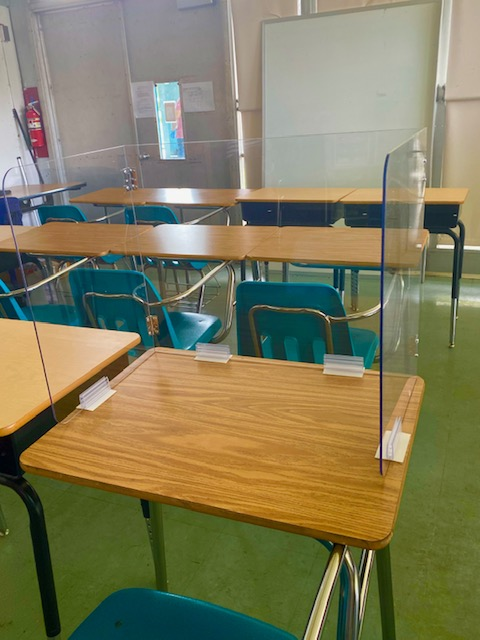 Student Desk shield plexiglas guard school