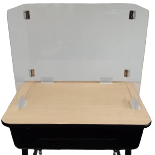 "Student Desk Guard ""Thick"" 4MM Polycarbonate Acrylic with Desk Holders"